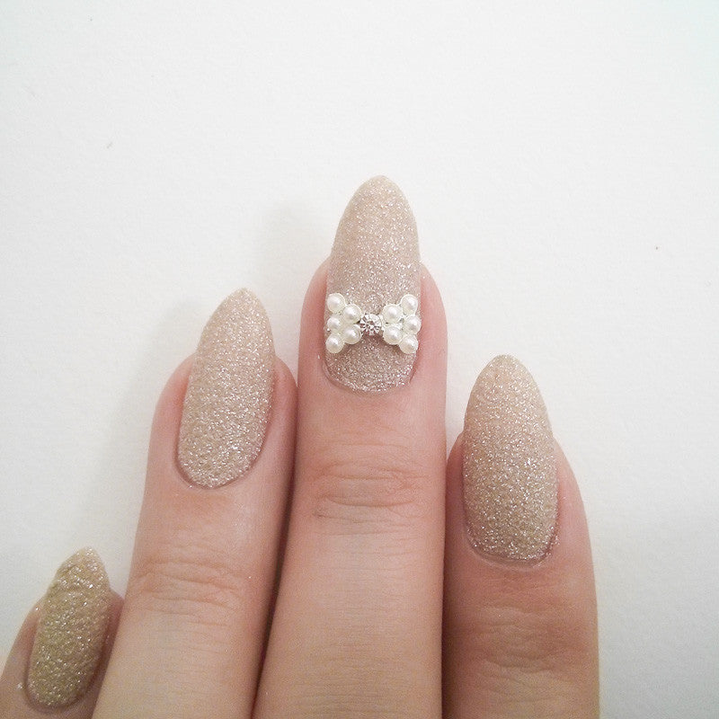 Nail Art Decoration - Simple Rhinestone Bow / Pearl