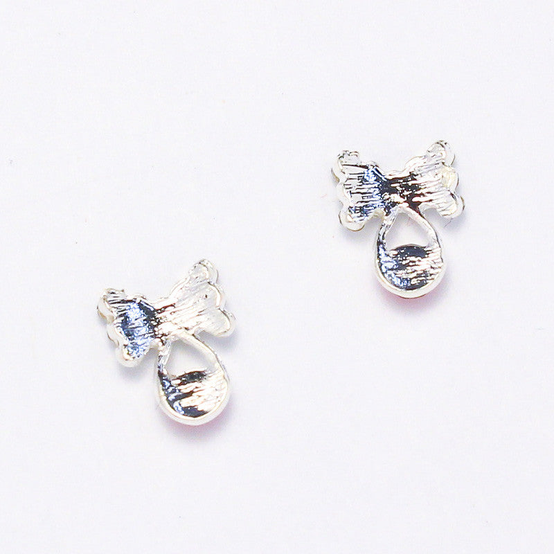 Nail Art Decoration - Bow with Droplet / Silver