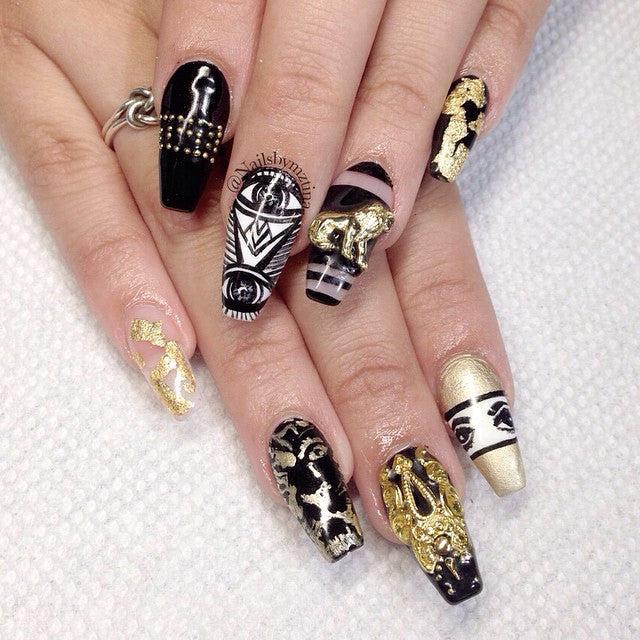 Nail Art Decoration - Lion Gold Charm 3D Jewelry