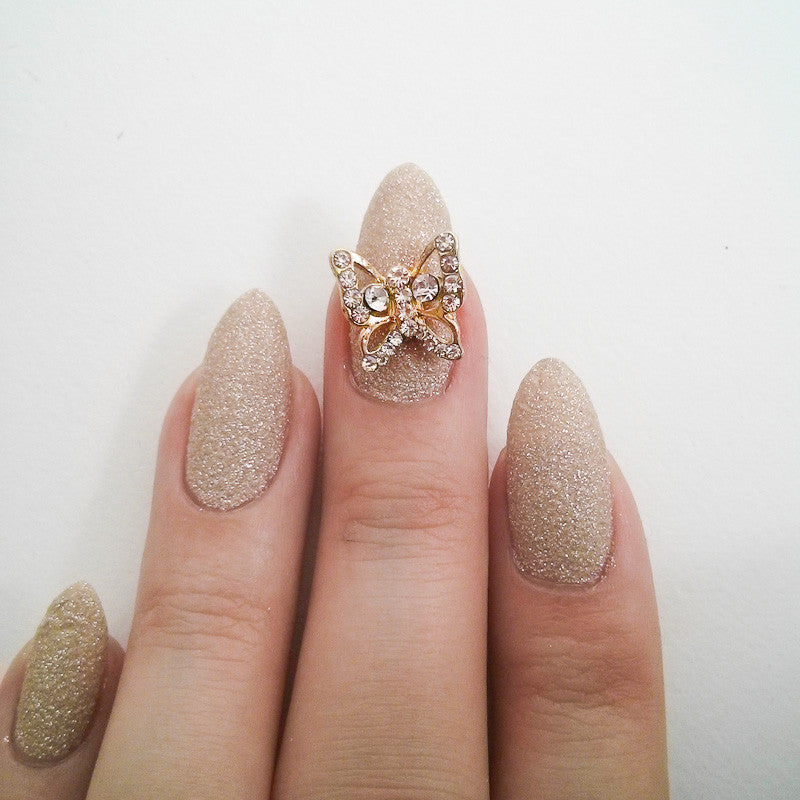 Nail Art Decoration - Butterfly / Clear Crystal