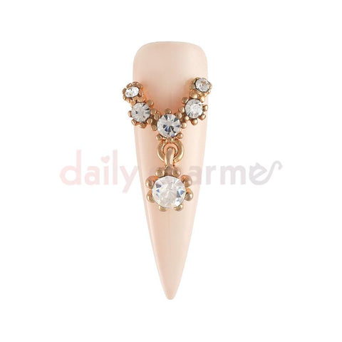 Rose Gold Nail Charm Diamond Necklace