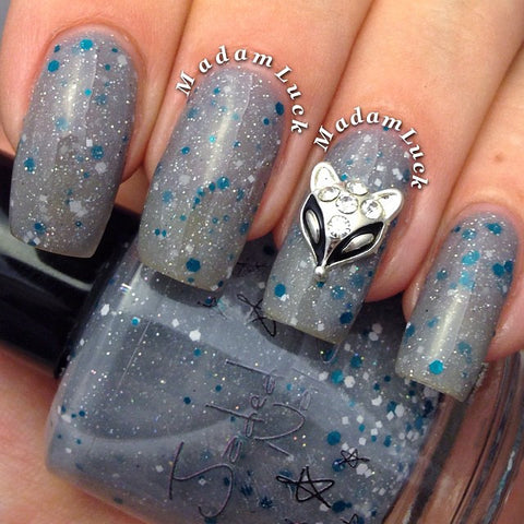 Nail Art Decoration - Fox / Silver Charm Jewelry 3D