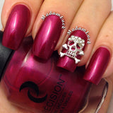 Nail Art Decoration - Skull & Crossbones / Silver 3D Charm Jewelry