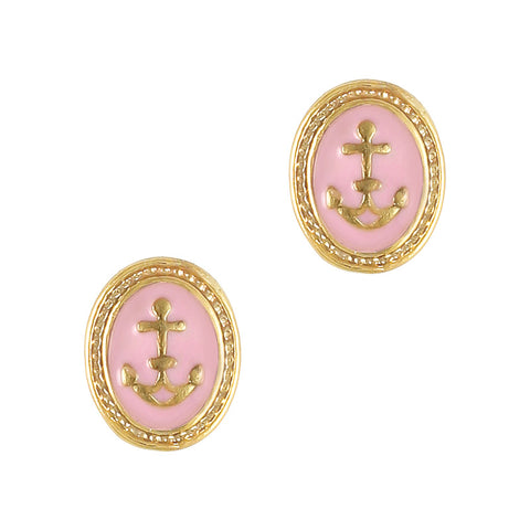 Nautical pink Vintage Anchor Cameo 3D nail charms