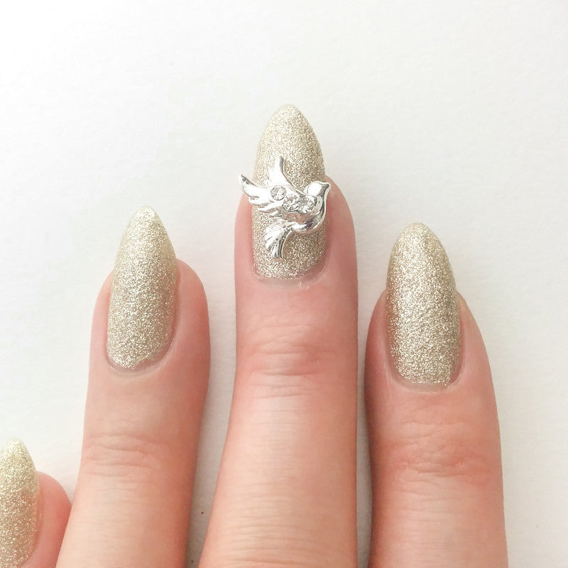 Nail Art Decoration - Lovey Dovey / Silver