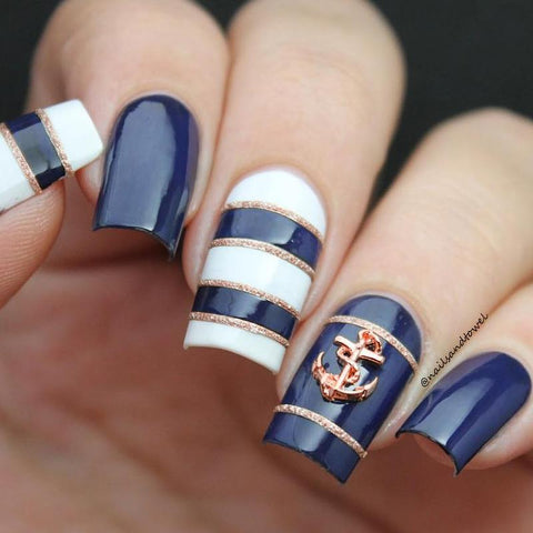 Royal Anchor / Rose Gold Nautical Summer Nail Art