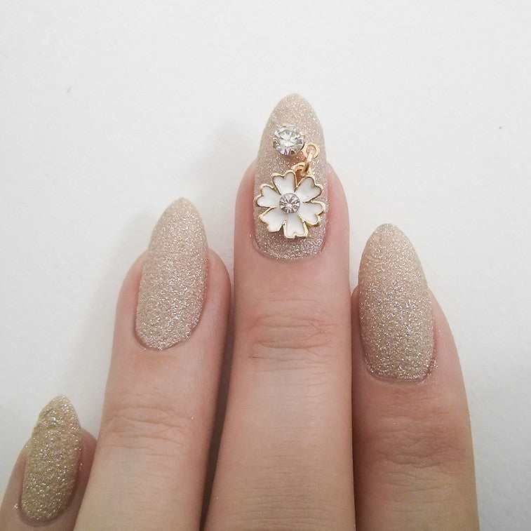 Nail Art Decoration - Cosmo with Hanging Rhinestone / White