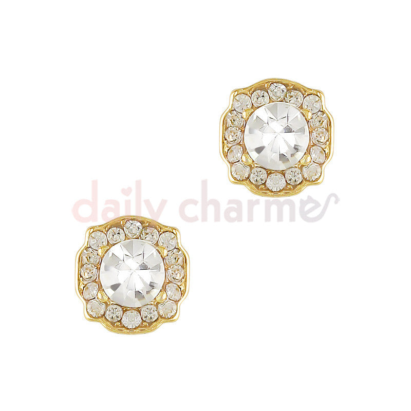 Daily Charme 3D Nail Art Charm Framed Ornate Round Gem / Gold