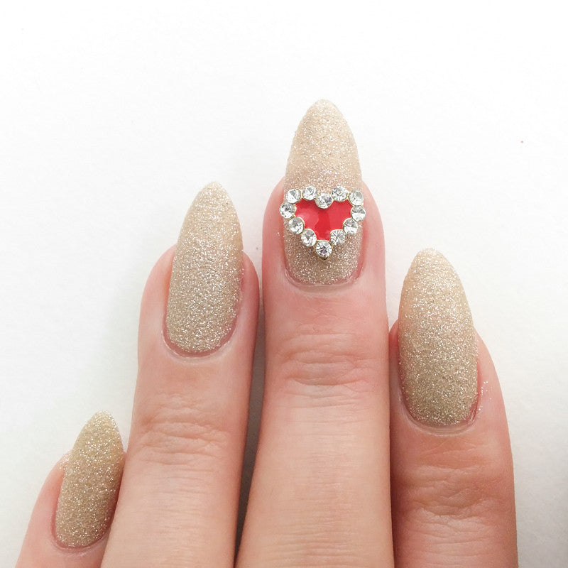 Nail Art Decoration - Red Heart / Gold