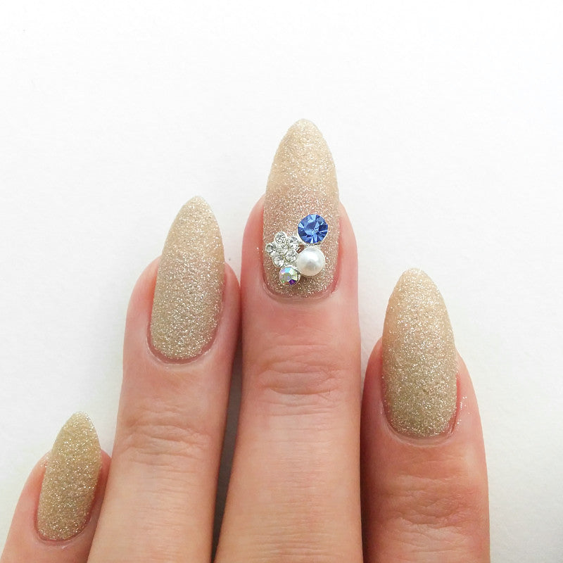 Nail Art Decoration - Spring Floral Cluster / Blue