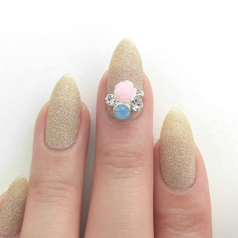 Nail Art Decoration - Pastel Rose Cluster / Silver