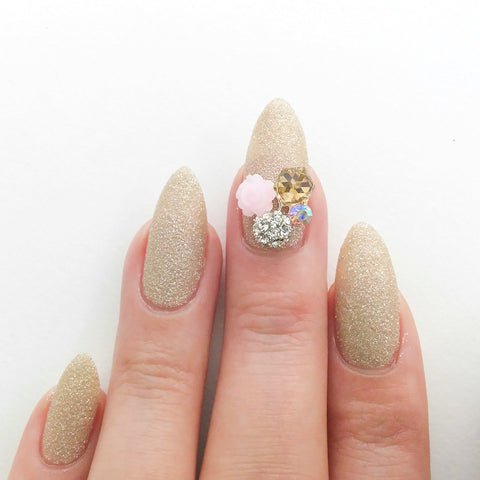Nail Art Decoration - Rose & Cube Cluster / Silver