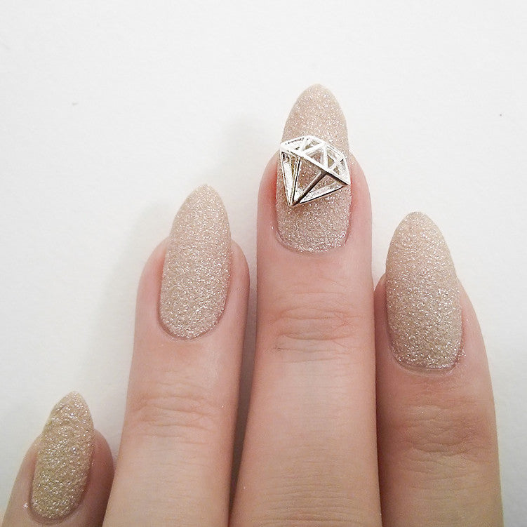 Nail Art Decoration - Diamond / Large / Silver