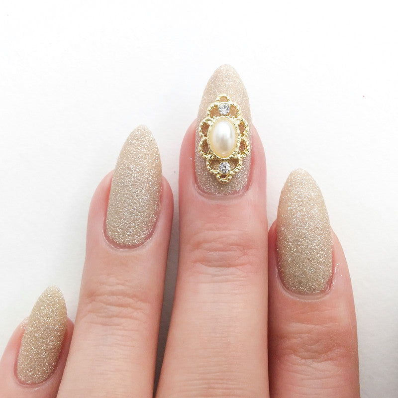 Nail Art Decoration - Lace Framed Pearl / Gold