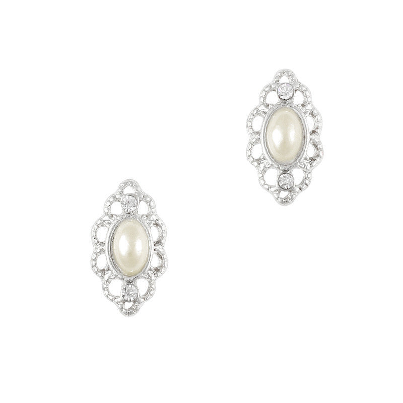 Lace Framed Pearl / Silver – Daily Charme