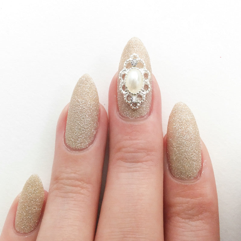 Nail Art Decoration - Lace Framed Pearl / Silver