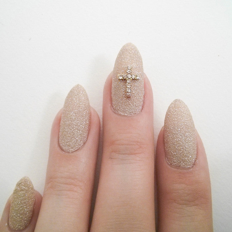 Nail Art Decoration - Cross / Gold