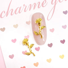 Enchanted Rose Gold Nail Charm 3D Decor Beauty Beast