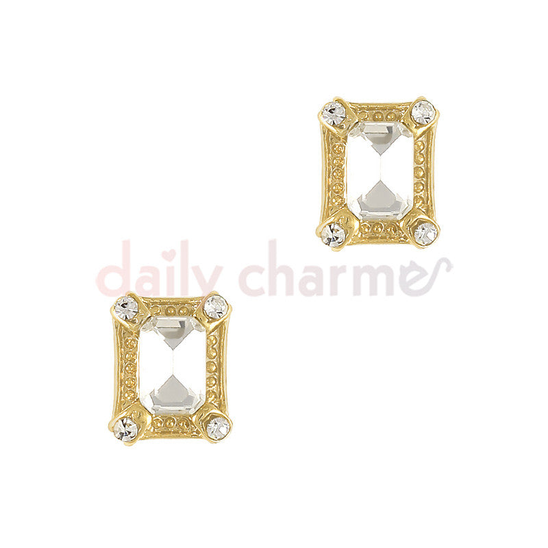 Daily Charme 3D Nail Art Charm Framed Vintage Rectangle Gem / Gold