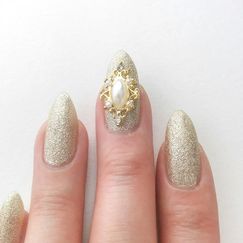 Nail Art Decoration - Delicate Framed Pearl / Gold