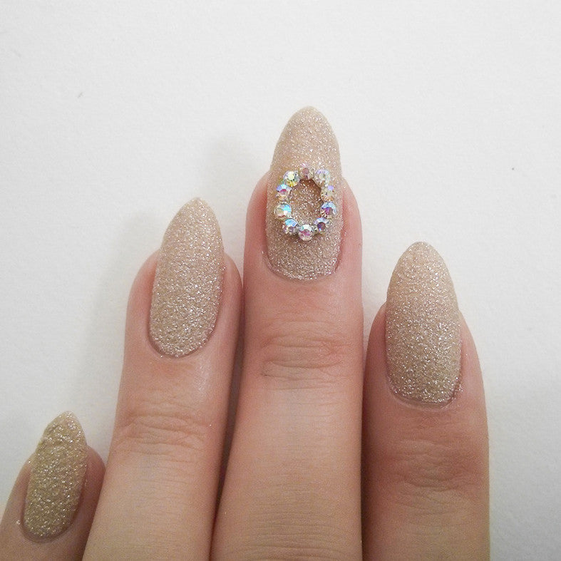 Nail Art Decoration - Oval Frame / AB Crystal