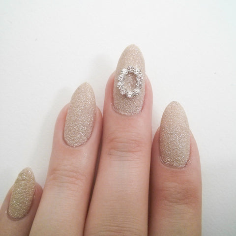 Nail Art Decoration - Oval Frame / Clear Crystal