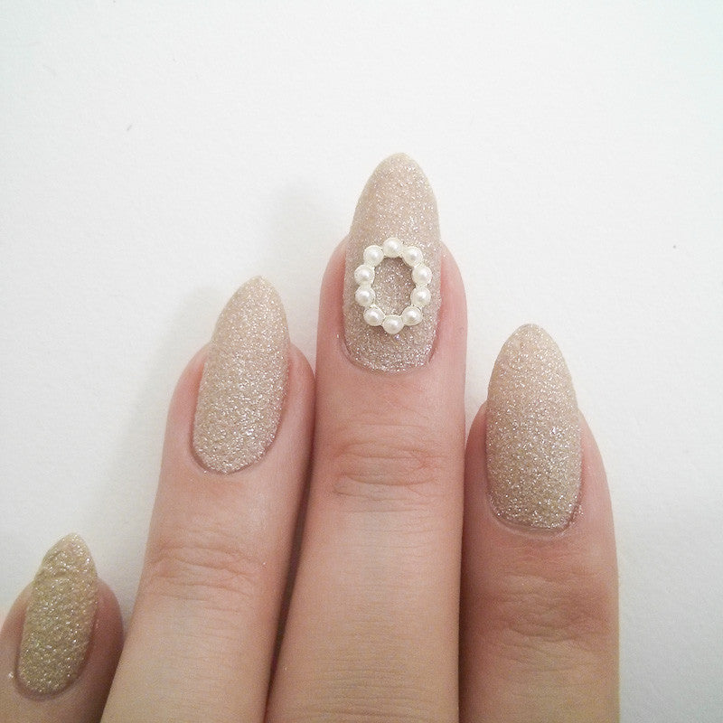 Nail Art Decoration - Oval Frame / Pearls