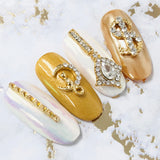 Fancy Crystal Drop / Gold Nail Charms