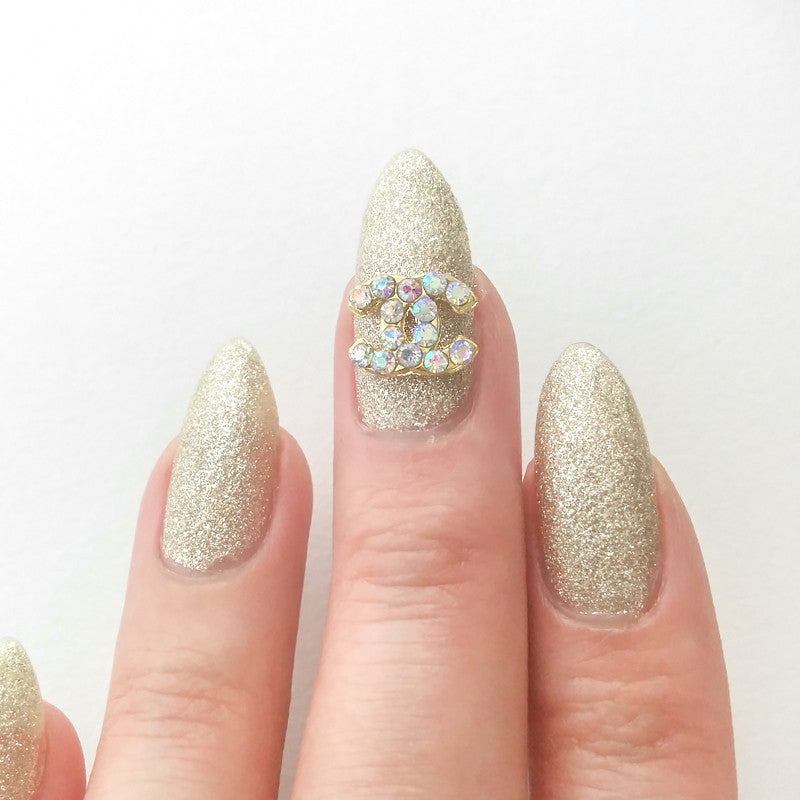 Nail Art Decoration - Coco Charme  / Gold / AB Crystal