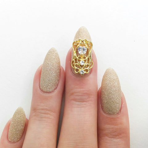 Nail Art Decoration - Diamond Heart Charme / Gold