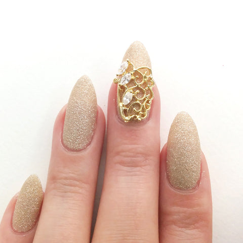 Nail Art Decoration - Diamond Triplet Charme / Gold