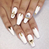 Nail Art Decoration - Diamond Ring / Gold Charm 3D Jewelry