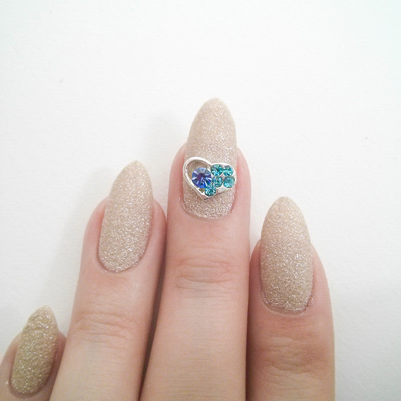Nail Art Decoration - Heart / Blue Crystal