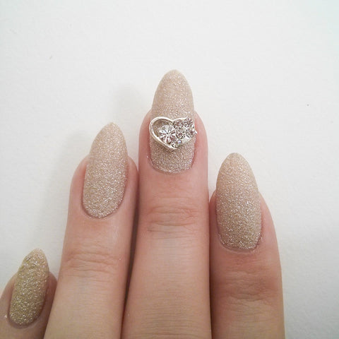 Nail Art Decoration - Heart / Clear Crystal