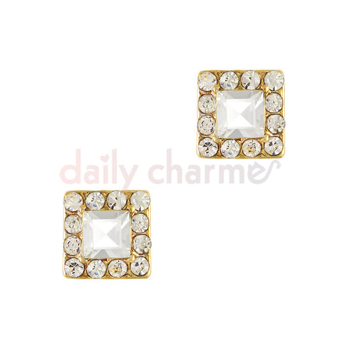 Daily Charme 3D Nail Art Charm Fancy Square Jewel / Gold