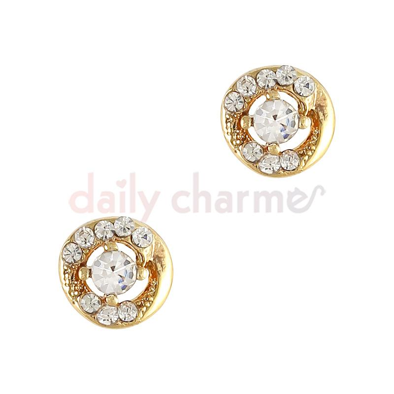 3D Nail Charm Jewelry Round Crystal Twist / Gold