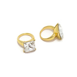 Square Diamond Ring Nail Charm Jewelry Gold 3D Bling