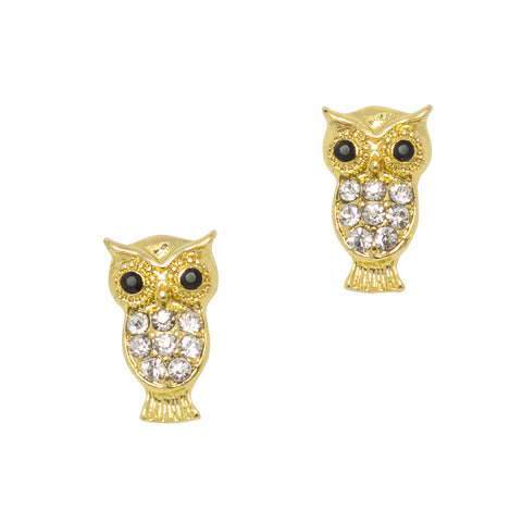 Owl Gold Nail Charm Jewelry 3D Bling Art