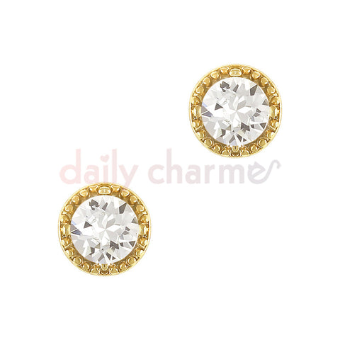Daily Charme 3D Nail Art Charm Vintage Round Crystal Gem / Gold