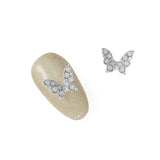Nail Charm Opal Butterfly SIlver Crystal 3D Jewelry Art Supply