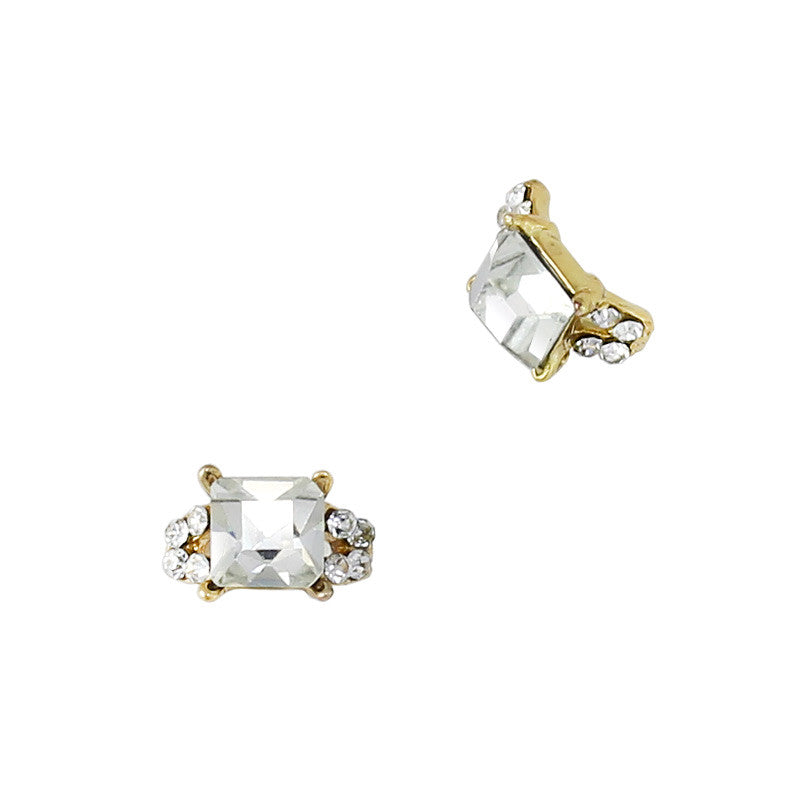 Tilda's Ring / Gold Square Diamond Nail Charm 3D Art Jewelry Supply