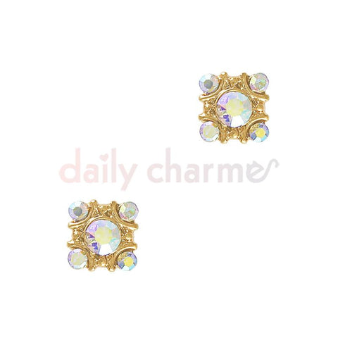 Square AB Gem Cluster / Gold Nail Art Charms
