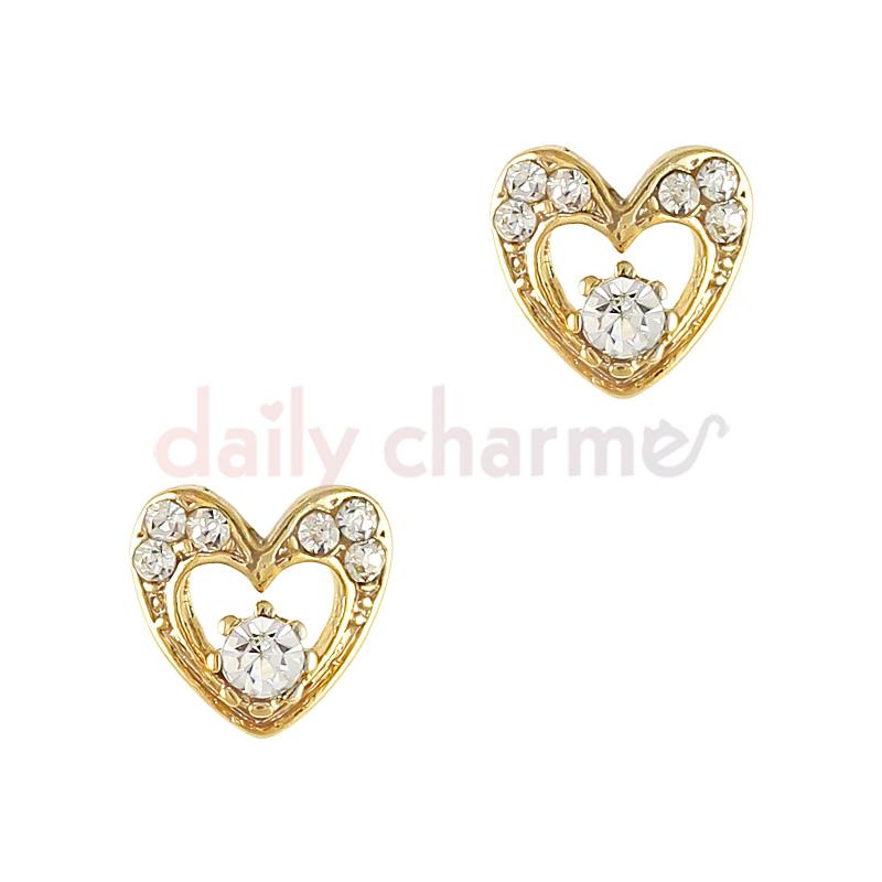 3D Nail Charm Jewelry Vintage Crystal Heart / Gold