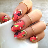 3D Nail Art Charm Jewelry Leaf Crescent Gold