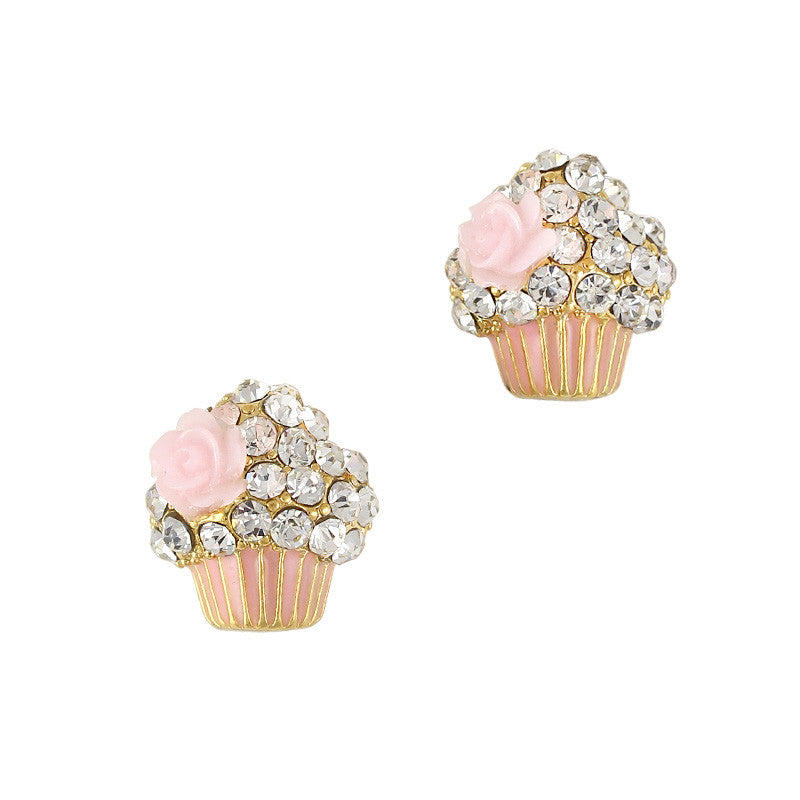 3D Nail Art Charm Jewelry Cupcake Pink Gold