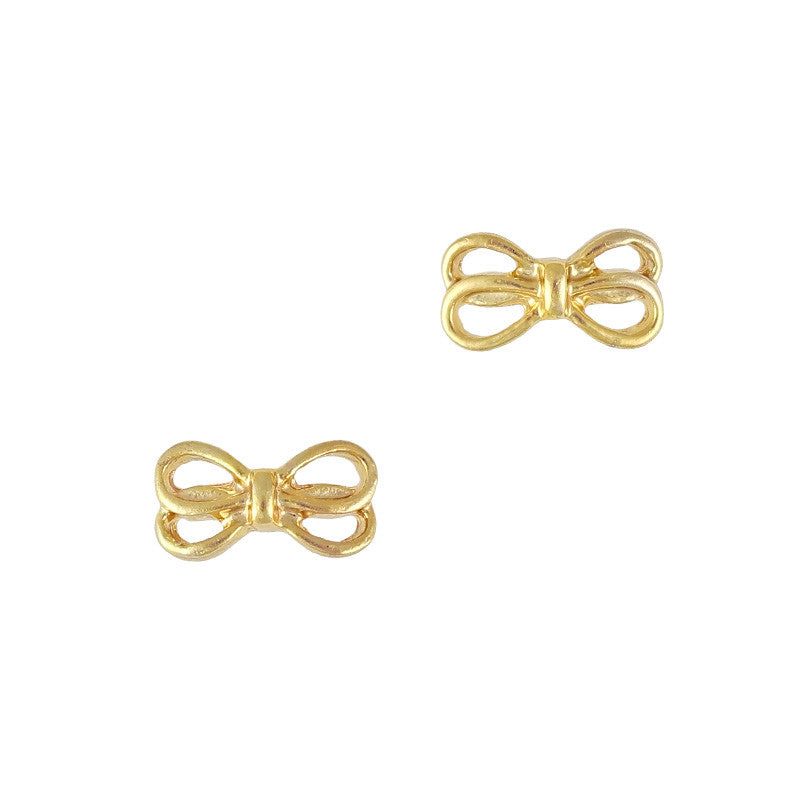 3D Nail Art Charm Jewelry Double Bow Gold