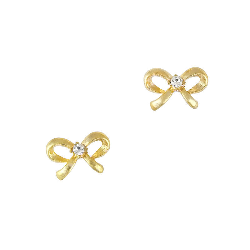 3D Nail Art Charm Jewelry Pretty Bow Gold