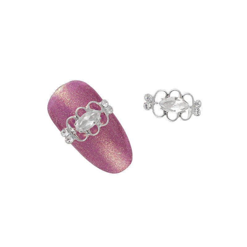 3D Nail Art Charm Jewelry Mini Dainty Marquise Gem / Silver / Clear