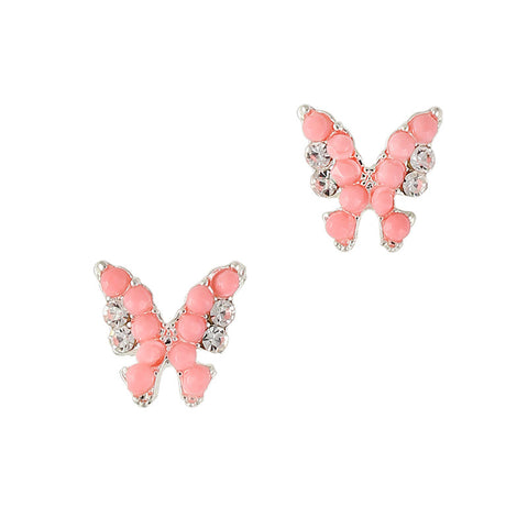 3D Nail Art Charm Jewelry Beaded Butterfly / Silver / Coral