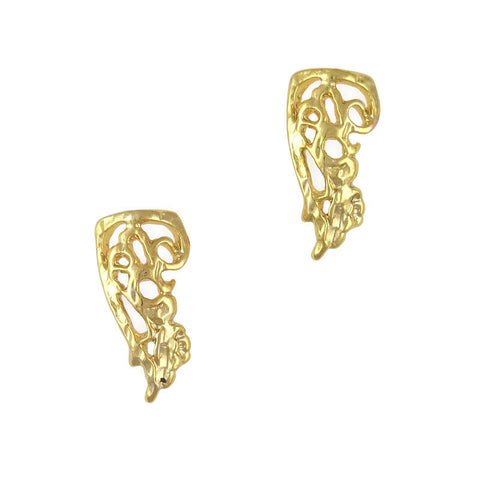 3D Nail Art Jewelry Charm - Ornate Swirly Armor / Gold